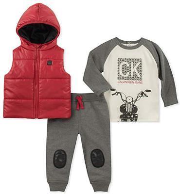 Calvin Klein Infant Boy Red  Vest 3pc Jogger Set Size 3/6M 6