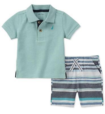 Nautica Boys Aqua Polo 2pc Short Set Size 2T 3T 4T 4 5 6 7 $