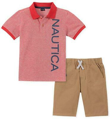 Nautica Boys Red Logo Polo 2pc Short Set Size 2T 3T 4T 4 5 6 7 $59.50