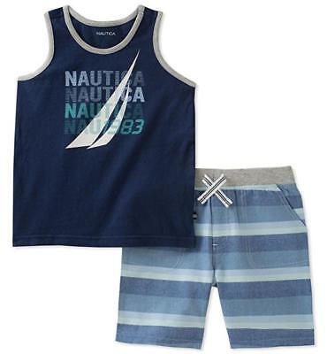 Nautica Boys Navy Blue Tank Top 2pc Short Set Size 2T 3T 4T 4 5 6 7 Boys Navy Short Set