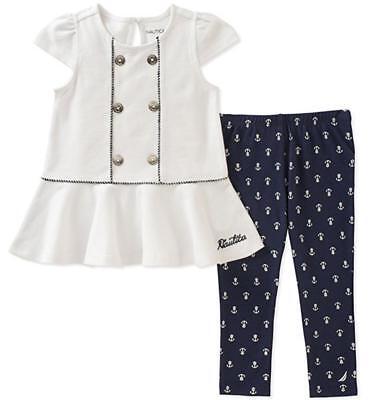 Nautica Girls Cap Sleeve Tunic 2pc Legging Set Size 2T 3T 4T 4 5 6 6X