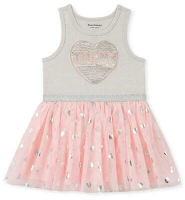 - Juicy Couture Toddler Girls Gray & Pink Heart Tutu Dress Size 2T 3T 4T $70