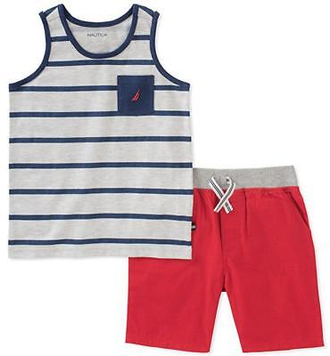 Nautica Infant Boys Striped Tank Top 2pc Short Set Size 12M 18M 24M $45