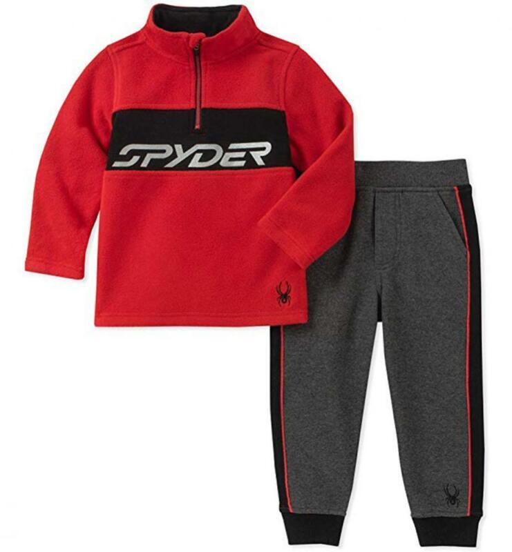 Spyder Boys Red & Charcoal Polar Fleece 2pc Jogger Size 2T 3T 4T 4 5 6 7