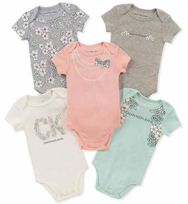 Calvin Klein Infant Girls 5pc Pink & Aqua Bodysuit Set Size