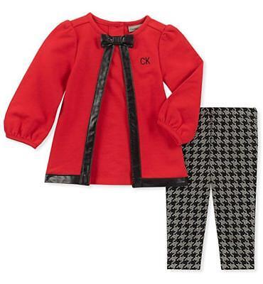 Calvin Klein Infant Girls Red Tunic 2pc Legging Set Size 3/6
