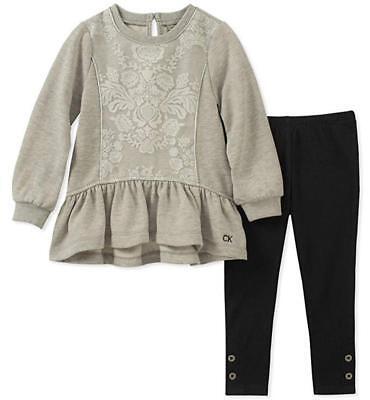 Calvin Klein Girls Gray Tunic 2pc Legging Set Size 2T 3T 4T