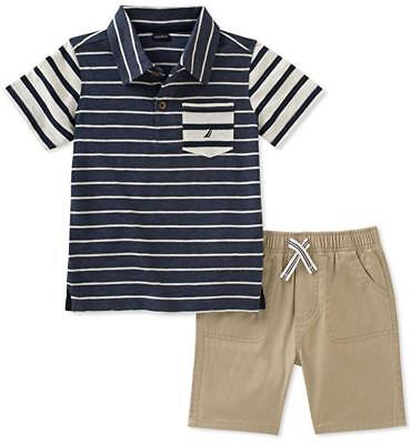 Nautica Infant Boys Striped Polo 2pc Short Set Size 3/6M 6/9M 12M 18M 24M $50