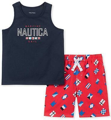Nautica Boys Navy Blue Tank Top 2pc Board Short Set Size 2T 3T 4T 4 5 6 7 $59.50