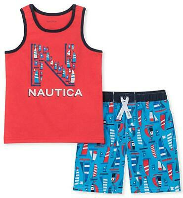 Nautica Toddler Boys Red Logo Tank Top 2pc Board Short Set Size 2T 3T 4T $59.50
