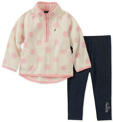 Nautica Infant Girls Fleece Pull-Over 2pc Legging Set Size 3/6M 6/9M 12M 18M 24M