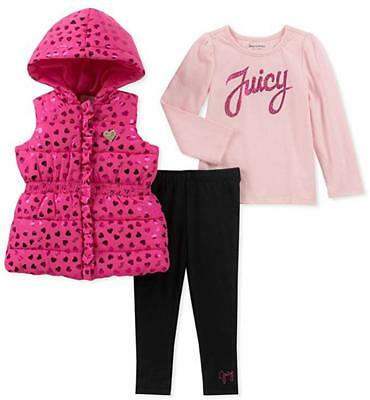 Juicy Couture Infant Girls Heart Vest 3pc Legging Set Size 3/6M 6/9M 12M 18M 24M