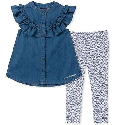 Calvin Klein Toddler Girls Denim Tunic 2pc Legging Set Size 2T 3T 4T $55 - Jean 2t 4t Sets