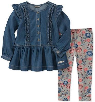 Calvin Klein Infant Girls Denim Tunic & Leggings Set Size 3/