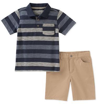 Calvin Klein Toddler Boys Blue Striped Polo 2pc Short Set Si