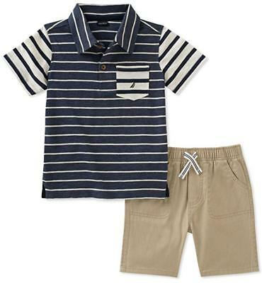 Nautica Boys Striped Polo 2pc Short Set Size 2T 3T 4T 4 5 6 7 $55