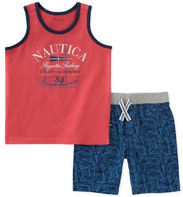 Nautica Infant Boys Coral Tank Top 2pc Short Set Size 12M 18M 24M $45