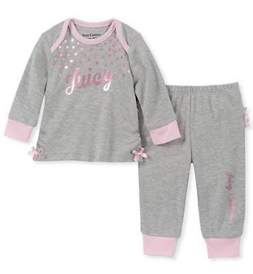 Juicy Couture Infant Girls Heather Gray Layette Pant Set Siz
