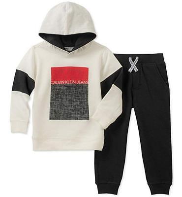 Calvin Klein Infant Boys White & Black 2pc Sweatsuit Size 12