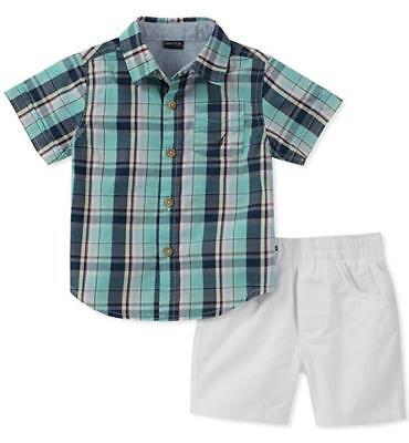 Nautica Infant Boys Plaid Woven Shirt 2pc Short Set Size 12M 18M 24M $50