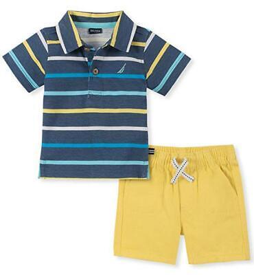 Nautica Boys Striped Navy & Yellow Polo 2pc Short Set Size 2T 3T 4T 4 5 6 7
