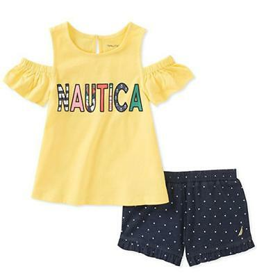 Nautica Infant Girls Yellow Top 2pc Short Set Size 12M 18M 24M $50