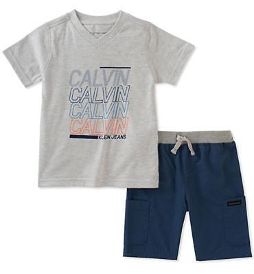 Calvin Klein Big Boys Gray V-Neck Top 2pc Short Set Size 8 1