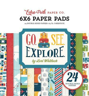 Echo Park Go See Explore 6X6 Paper Pad 24Pc Travel Vacation Planner Scrapbook