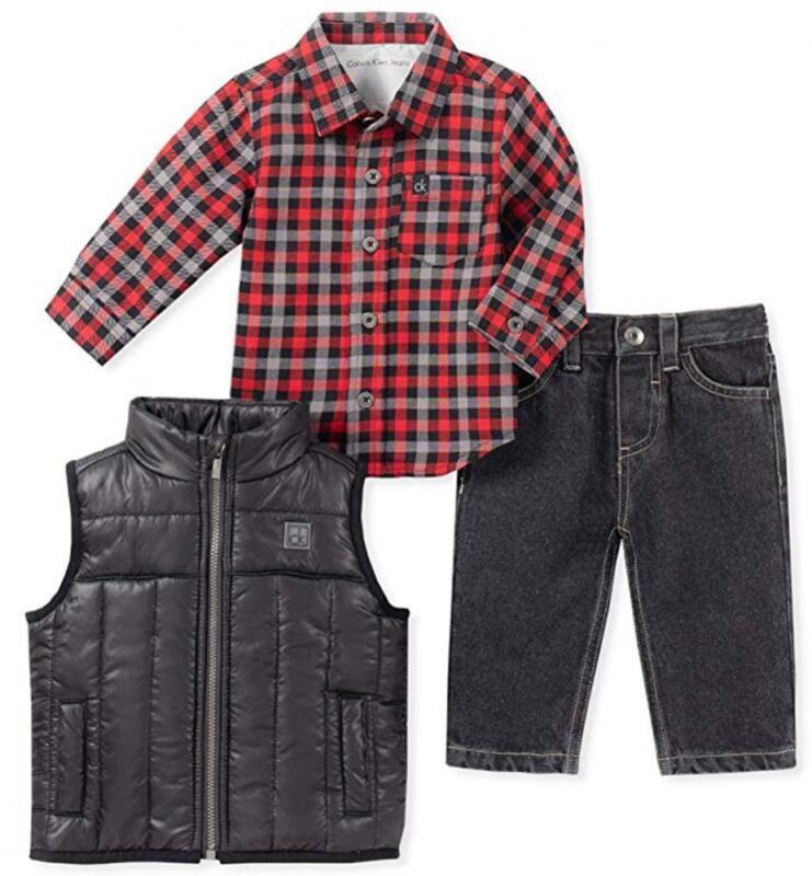 Calvin Klein Boys Black Puffer Vest 3pc Pant Set Size 2T 3T 4T 4 5 6 7 $89.50