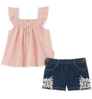 Calvin Klein Girls Pink Top 2pc Denim Short Set Size 2T 3T 4