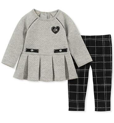 Calvin Klein Infant Girls Gray Tunic 2pc Legging Set Size 3/