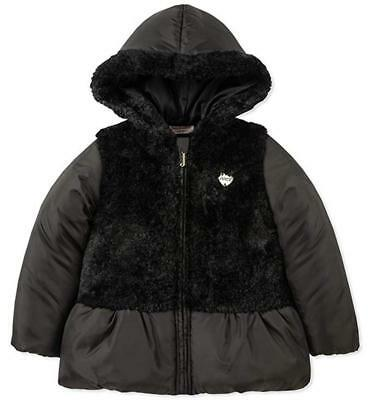 Juicy Couture Big Girls Black Mid-Weight Coat W/Faux Fur Size 7 8/10 12 $85 - Faux Fur Coat Girls