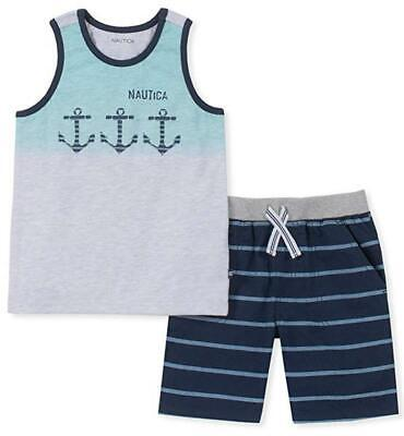 Nautica Boys Heather Gray Tank Top 2pc Short Set Size 2T 3T 4T 4 5 6 7 $59.50