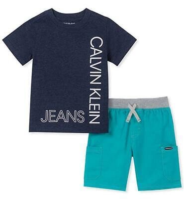 Calvin Klein Boys Navy Blue Logo Top 2pc Short Set Size 2T 3T 4T 4 5 6 7 Boys Navy Short Set