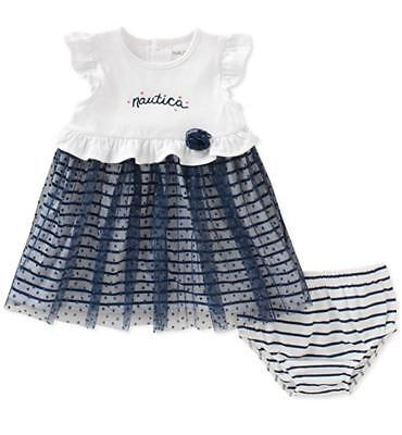 Nautica Infant Girls White & Navy Dress W/Panty Size 3/6M 6/9M 12M 18M 24M