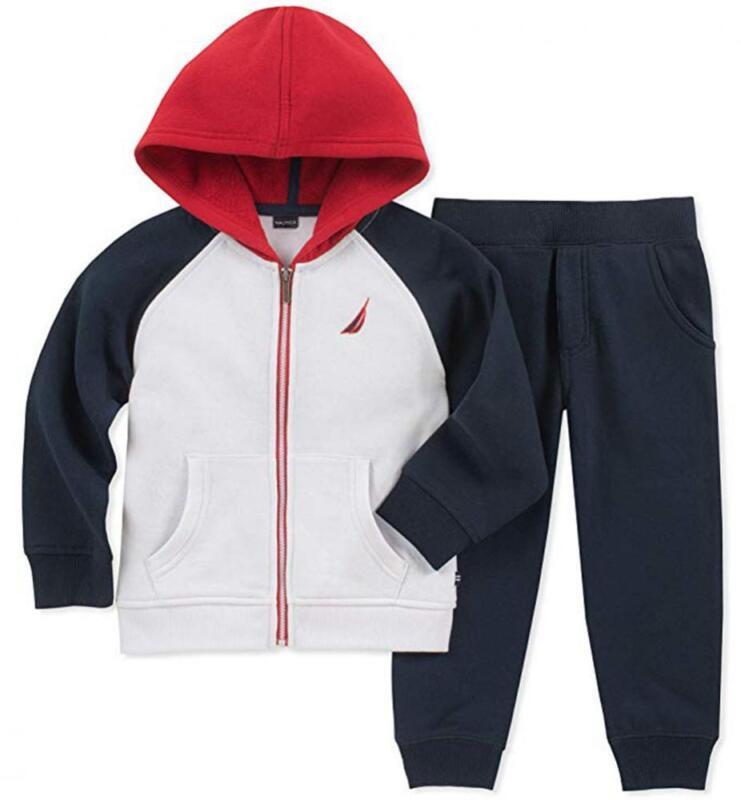 Nautica Boys Zip-Up Hoodie 2pc Sweatsuit Size 2T 3T 4T 4 5 6 7