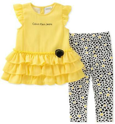 Calvin Klein Infant Girls Yellow Tunic & Legging Set Size 3/