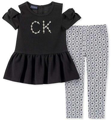 Calvin Klein Girls Black Tunic 2pc Legging Set Size 2T 3T 4T