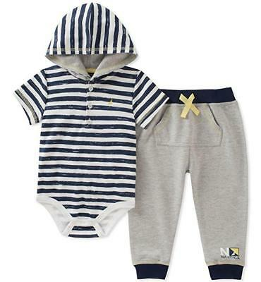 Nautica Infant Boys Navy Blue Bodysuit & Short Set Size 3/6M 6/9M 12M 18M 24M Boys Navy Short Set