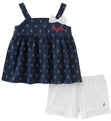Nautica Infant Girls Navy & White Tunic 2pc Short Set Size 12M 18M 24M $50