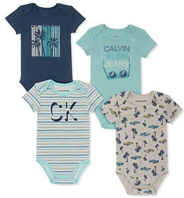 Calvin Klein Infant Boys Mint 4-Pack Bodysuits Size 0/3M 3/6