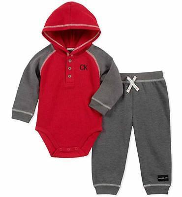 Calvin Klein Infant Boys Red & Gray 2pc Pant Set Size 0/3M 3