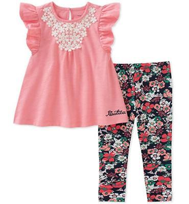 Nautica Infant Girls 2pc Pink & Floral Print Legging Set Size 12M 18M 24M $50