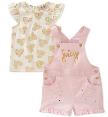 Juicy Couture Infant Boys Pink 2pc Shortall Set Size 3/6M 6/