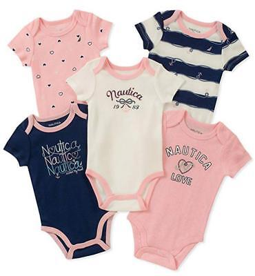 Nautica Infant Girls 5 Pack Navy & Pink Bodysuits Size 0/3M 3/6M 6/9M $42