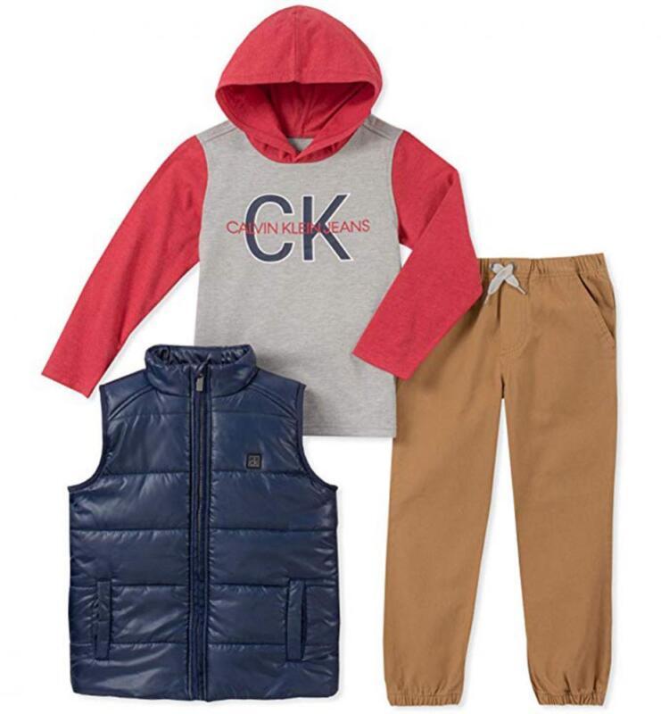 Calvin Klein Boys Navy Puffer Vest 3pc Pant Set Size 2T 3T 4T 4 5 6 7 $89.50