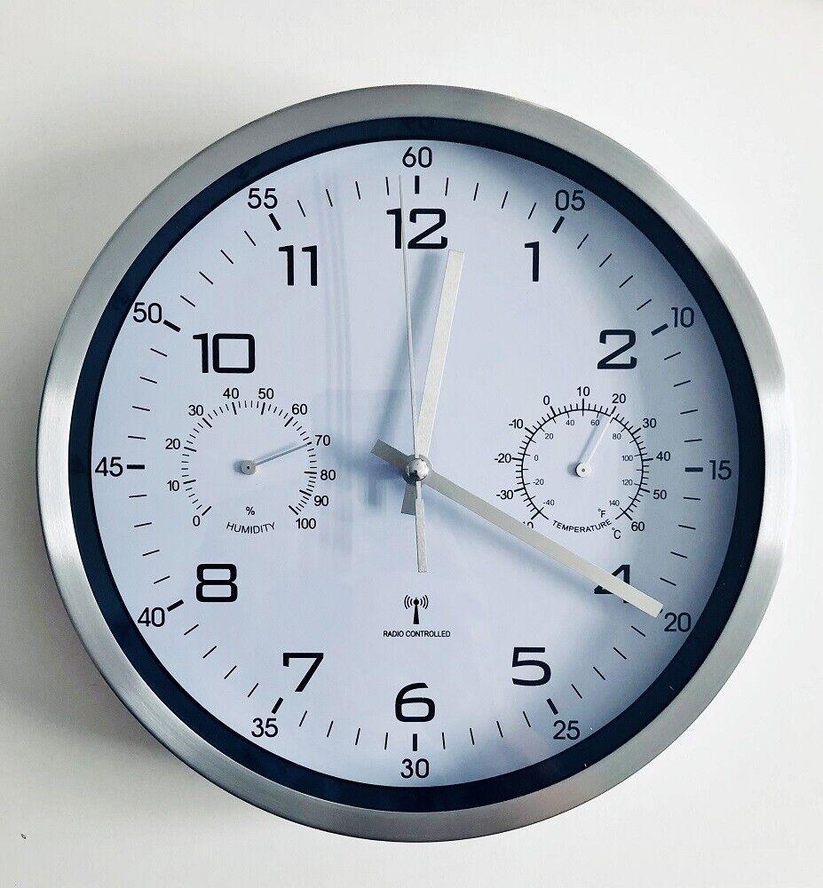 Funkwanduhr weiß analog Funk Wanduhr mit Thermometer Hygrometer
