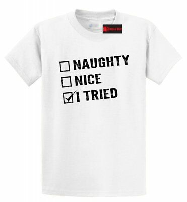 Naughty Nice Party (Funny Christmas T Shirt Naughty Nice I Tried Tee Santa Xmas Party Gift Tee)