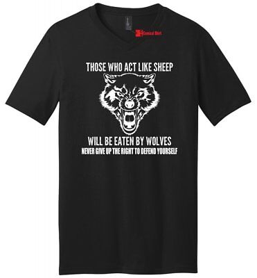 Those Who Act Like Sheep Eaten By Wolves Mens V-Neck T Shirt 2nd (Like Sheep)