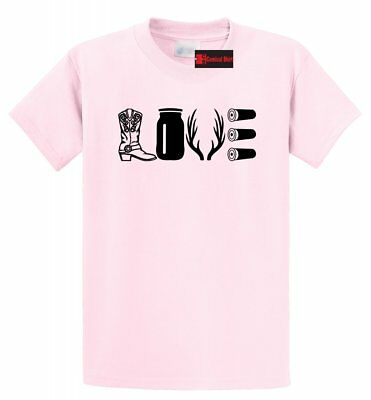 Love Hunting T Shirt Country Redneck Hunter Gift Tee Cowboy Boots Antlers Tee